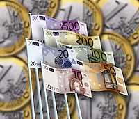 Flying the Euro banknote flag with euro coins in the background.