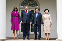 US President Donald J. Trump (C-L) and First Lady Melania Trump (L) welcome Korean President Moon Jae-in (C-R) and Mrs. Kim Jung-sook (R) to the Colonnade of the White House in Washington, DC, USA, 11 April 2019. President Moon is expected to ask President Trump to reduce sanctions on North Korea in an attempt to jump start nuclear negotiations between North Korea and the US.<br /> CAP/MPI/RS<br /> &copy;RS/MPI/Capital Pictures
