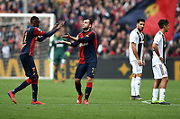 Goran Pandev of Genoa (2L) celebrates with Christian Kouame after scored second goal for his side during the Serie A 2018/2019 football match between Genoa CFC and Juventus FC at stadio Luigi Ferraris, Genova, March 17, 2019 <br /> Photo Andrea Staccioli / Insidefoto