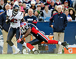 1 November 2009: Houston Texans' running back Ryan Moats is tackled by Buffalo Bills wide receiver Justin Jenkins during a kick return at Ralph Wilson Stadium in Orchard Park, New York, United States of America. The Texans defeated the Bills 31-10. Mandatory Credit: Ed Wolfstein Photo