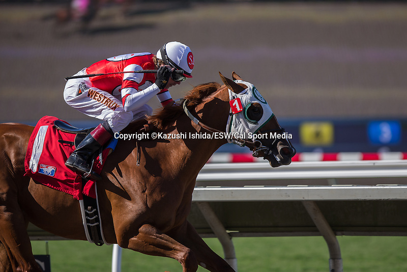 AUG 16,2014:American Sailor,ridden by Tyler Baze,wins the maiden race,6R at Del Mar in Del Mar,CA. Kazushi Ishida/ESW/CSM