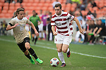 HOUSTON, TX - DECEMBER 11:  Sam Werner (23) of Stanford University dribbles past Hayden Partain (21) of Wake Forest University during the Division I Men's Soccer Championship held at the BBVA Compass Stadium on December 11, 2016 in Houston, Texas.  Stanford defeated Wake Forest 1-0 in a penalty shootout for the national title. (Photo by Justin Tafoya/NCAA Photos via Getty Images)