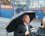 Rangers legend John Brown speaking to TV outside Ibrox this morning as he tries to rally the fans behind his consortium to gain control of the club