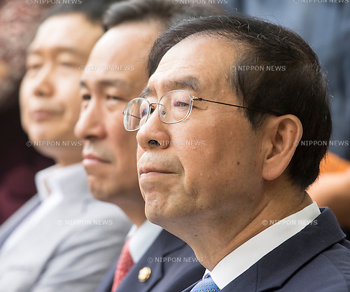 Park Won-soon and Woo Sang-ho, Aug 29, 2016 : Seoul Mayor Park Won-soon (front) and the floor leader of the main opposition Minjoo Party of Korea, Woo Sang-ho (2nd R) attend an opening ceremony for a park commemorating the victims of Japan's sexual enslavement during Japan's occupation of the Korean Peninsula (1910-45), on Mount Nam in Seoul, South Korea. The Seoul Metropolitan Government and a committee which is charge of building the memorial park held the ceremony on Monday, which  marks the 106th anniversary of the colonization. The place of the memorial park is the former residence of Japan's colonial-era resident-general, where the annexation treaty between Korea and Japan was signed on August 22, 1910. The treaty went into effect one week later. (Photo by Lee Jae-Won/AFLO) (SOUTH KOREA)