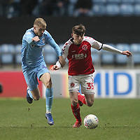 Fleetwood Town's Ryan Rydel in action with Coventry City's Charlie Wakefield<br /> <br /> Photographer Mick Walker/CameraSport<br /> <br /> The EFL Sky Bet League One - Coventry City v Fleetwood Town - Tuesday 12th March 2019 - Ricoh Arena - Coventry<br /> <br /> World Copyright © 2019 CameraSport. All rights reserved. 43 Linden Ave. Countesthorpe. Leicester. England. LE8 5PG - Tel: +44 (0) 116 277 4147 - admin@camerasport.com - www.camerasport.com