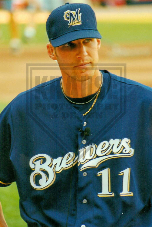 MILWAUKEE - AUGUST 2000: Richie Sexson (11) of the Milwaukee Brewers prior to a game on August 22, 2000 at Milwaukee County Stadium in Milwaukee, Wisconsin. (Photo by Brad Krause)