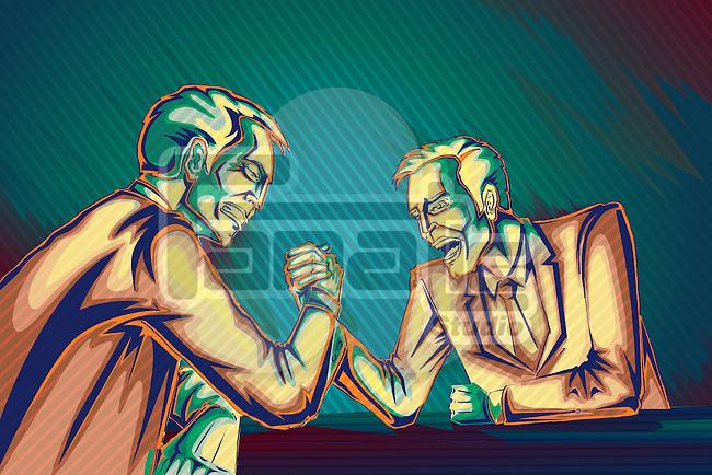 Illustrative image of businessmen arm wrestling representing business war