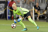 Houston, TX - Saturday July 08, 2017: Jane Campbell stops a shot on goal during a regular season National Women's Soccer League (NWSL) match between the Houston Dash and the Portland Thorns FC at BBVA Compass Stadium.