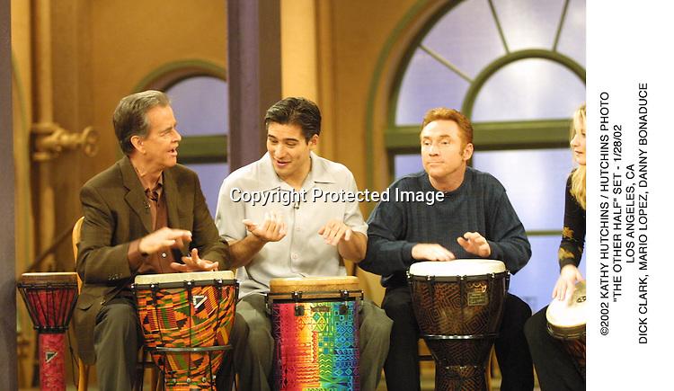 "©2002 KATHY HUTCHINS / HUTCHINS PHOTO.""THE OTHER HALF"" SET - 1/28/02.LOS ANGELES, CA.DICK CLARK, MARIO LOPEZ, DANNY BONADUCE"
