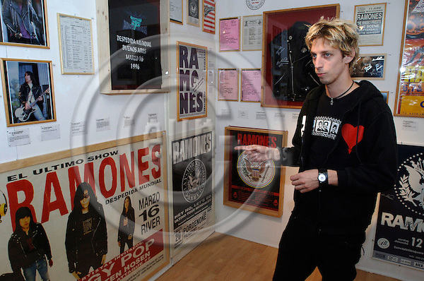 BERLIN - GERMANY 19. 10. 2006 -- Florian Hayler, owner of the world's first Ramones museum in Berlin, among some of the more that 300 exhibited items-- PHOTO: GORM K. GAARE / EUP- IMAGES ...