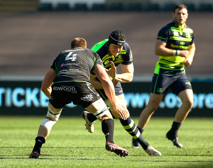 Leinster's Ian Nagle under pressure from Ospreys' Lloyd Ashley<br /> <br /> Photographer Simon King/CameraSport<br /> <br /> Guinness PRO12 Round 19 - Ospreys v Leinster Rugby - Saturday 8th April 2017 - Liberty Stadium - Swansea<br /> <br /> World Copyright &copy; 2017 CameraSport. All rights reserved. 43 Linden Ave. Countesthorpe. Leicester. England. LE8 5PG - Tel: +44 (0) 116 277 4147 - admin@camerasport.com - www.camerasport.com