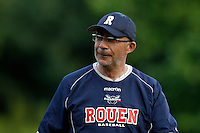 15 July 2011: Coach Francois Colombier of the Rouen Huskies is seen during the 2011 Challenge de France match won 6-5 by the Rouen Huskies over the Senart Templiers at Stade Pierre Rolland, in Rouen, France.