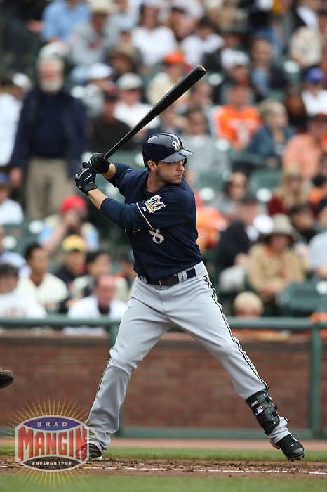 SAN FRANCISCO - JULY 20:  Ryan Braun of the Milwaukee Brewers bats during the game against the San Francisco Giants at AT&T Park in San Francisco, California on July 20, 2008.  The Brewers defeated the Giants 7-4.  Photo by Brad Mangin