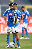 Lorenzo Insigne of SSC Napoli and Mario Rui of SSC Napoli during the Serie A football match between Genoa CFC and SSC Napoli stadio Marassi in Genova ( Italy ), July 08th, 2020. Play resumes behind closed doors following the outbreak of the coronavirus disease. <br /> Photo Matteo Gribaudi / Image / Insidefoto