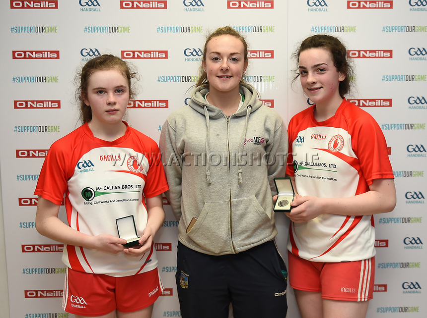 19/03/2018; 40x20 All Ireland Juvenile Championships Finals 2018; Kingscourt, Co Cavan;<br /> Girls Under-14 Doubles; Galway (Sky Ni Mhaille Breathnach/Eadaoin Nic Dhonnacha) v Tyrone (Dearbhla Fox/Cl&oacute;da Nic Con Midhe)<br /> Runners up Dearbhla Fox and Cl&oacute;da Nic Con Midhe with Martina McMahon<br /> Photo Credit: actionshots.ie/Tommy Grealy