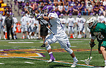 TD Ierlan (#3) attacks after winning a faceoff as UAlbany Lacrosse defeats Vermont 14-4  in the American East Conference Championship game at Casey Stadium, May 5.