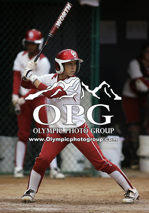 28 May 2010:  Oklahoma left fielder Haley Anderson sets up in the batters box against Washington.  Washington defeated Oklahoma 3-0 in the second game of the NCAA Super Regional at Husky Softball Stadium in Seattle, WA.