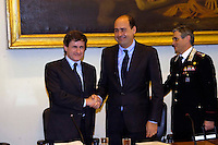 Rome May 7 2008.Provincial committee for the Order and Security.The mayor of Rome Gianni Alemanno  with  the president of the province in Rome Nicola  Zingaretti