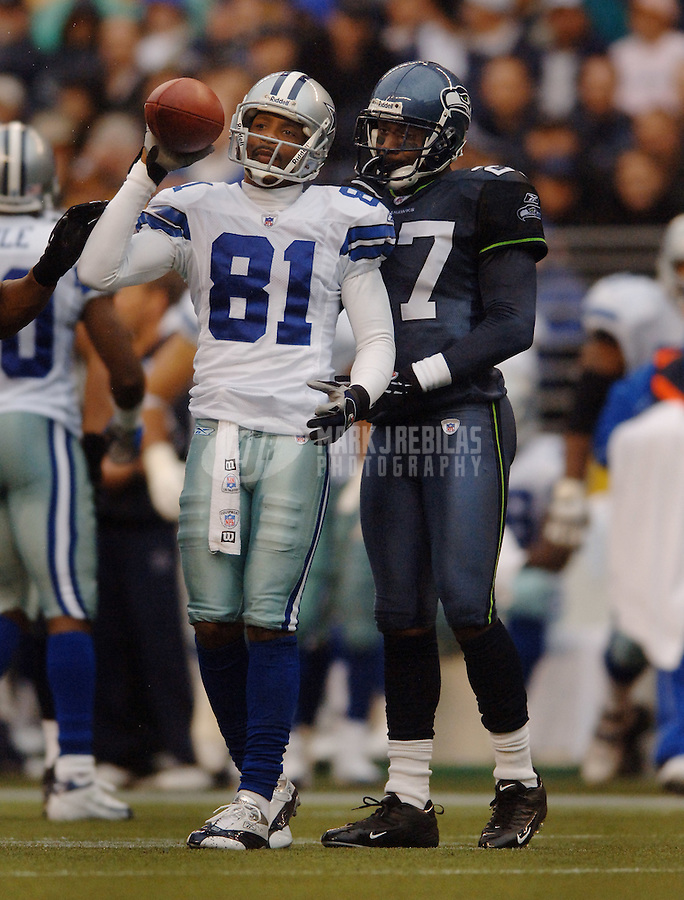 Oct. 23, 2005; Seattle, WA, USA; Wide receiver (81) Peerless Price of the Dallas Cowboys against the Seattle Seahawks at Qwest Field. Mandatory Credit: Mark J. Rebilas