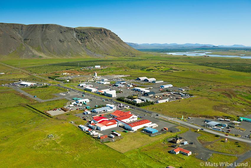 Selfoss séð til norðurs. Iðnaðarhverfi fremst.  Sveitarfélagið Árborg /  Selfoss viewing north,  Industrial region in foreground. Sveitarfelagid Arborg.