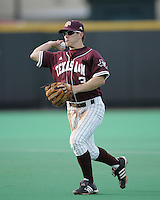 Texas A&M 2B Blake Stouffer throws against Texas on May 16th, 2008 in Austin Texas. Photo by Andrew Woolley / Four Seam images..