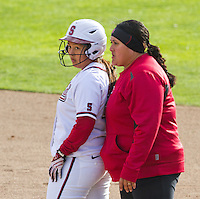 STANFORD, CA - February 25, 2011:  Jamie Millwood and Assistant Coach Claire Sua-Amundson during Stanford's 12-0 victory over North Dakota State at Stanford, California on February 25, 2011.