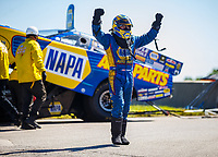 May 21, 2017; Topeka, KS, USA; NHRA funny car driver Ron Capps celebrates after winning the Heartland Nationals at Heartland Park Topeka. Mandatory Credit: Mark J. Rebilas-USA TODAY Sports