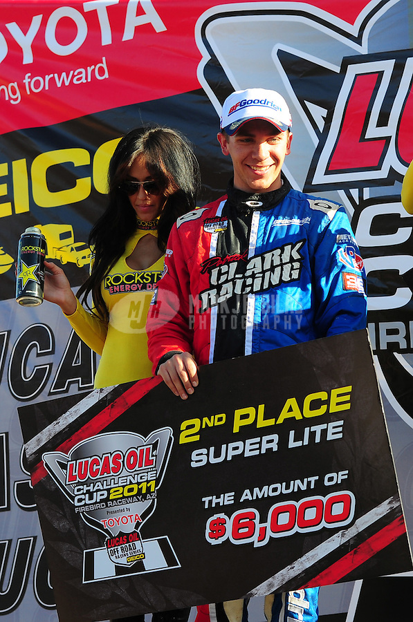 Dec. 11, 2011; Chandler, AZ, USA;  LOORRS super lite driver Patrick Clark (37) during the Lucas Oil Challenge Cup at Firebird International Raceway. Mandatory Credit: Mark J. Rebilas-