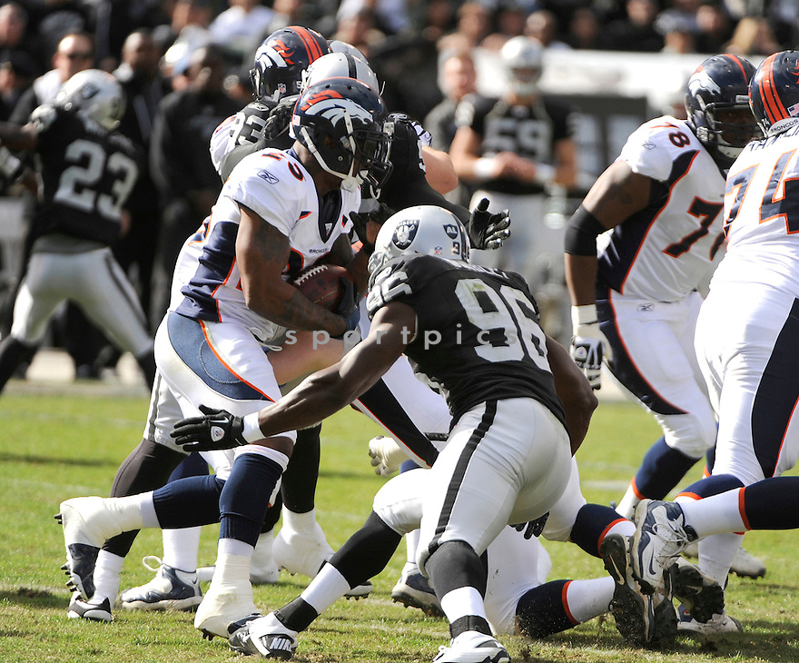 WILLIS MCGAHEE, of the Denver Broncos, in action during the Broncos game against the Oakland Raiders on November 6, 2011 at O.co Coliseum in Oakland, CA. Denver beat Oakland 38-24.