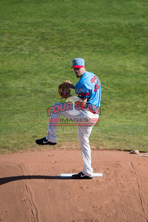 Spokane Indians starting pitcher Chi Chi Gonzalez (22) delivers a pitch in a rehab assignment during a Northwest League game against the Vancouver Canadians at Avista Stadium on September 2, 2018 in Spokane, Washington. The Spokane Indians defeated the Vancouver Canadians by a score of 3-1. (Zachary Lucy/Four Seam Images)