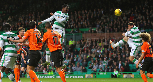 25.10.2015. Glasgow, Scotland. Scottish Premier League. Celtic versus Dundee United. Efe Ambrose heads towards goal