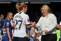 Chelsea Women's Manager, Emma Hayes, shakes hands with Tottenham Hotspur Women's Rachel Furness at the final whistle during Chelsea Women vs Tottenham Hotspur Women, Barclays FA Women's Super League Football at Stamford Bridge on 8th September 2019
