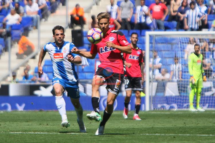 League Santander 2016/2017. Game: 31.<br /> RCD Espanyol vs Deportivo Alaves: 1-0.<br /> Victor Sanchez vs Marcos Llorente.