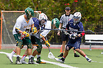 Orange, CA 05/16/15 - Jonathan Quickel (Concordia #7), Casey Topp (Dayton #26), Mike McCarthy (Dayton #15) and unidentified Concordia player(s) in action during the 2015 MCLA Division II Championship game between Dayton and Concordia, at Chapman University in Orange, California.