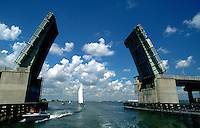 Pinellas Bayway drawbridge, boaters' gateway to the Gulf of Mexico. St. Petersburg, Florida.