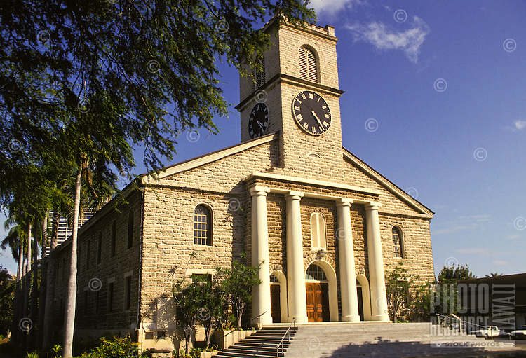Kawaiahao Church, built of coral blocks, downtown Honolulu, scene of many weddings