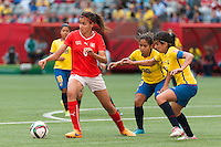 June 12, 2015: Cinzia ZEHNDER of Switzerland controls the ball during a Group C match at the FIFA Women's World Cup Canada 2015 between Switzerland and Ecuador at BC Place Stadium on 12 June 2015 in Vancouver, Canada. Switzerland won 10-1. Sydney Low/AsteriskImages