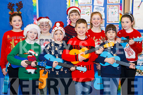 Balloonagh National School's 1st Ukulele band ready to perform at the Christmas show on Monday night last. From 2nd and 3rd class, front l-r Elliott Maher, Dyland Walsh, Kamron O'Brien and Zofia Sosnowska. Back l-r Seoidin McBride, Ailison O'Brien, Thomas O'Brien, Lucy O'Connor and Emily Flynn.