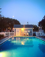 The swimming pool at twilight at a condominium complex in Cape May, New Jersey on September 4, 2017.