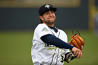 Second baseman Blake Tiberi (3) of the Columbia Fireflies warms up before a game against the Augusta GreenJackets on Saturday, April 7, 2018, at Spirit Communications Park in Columbia, South Carolina. Augusta won, 6-2. (Tom Priddy/Four Seam Images)