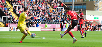 Fleetwood Town's Lewis Coyle blocks a shot from Lincoln City's Bruno Andrade<br /> <br /> Photographer Chris Vaughan/CameraSport<br /> <br /> The EFL Sky Bet League One - Lincoln City v Fleetwood Town - Saturday 31st August 2019 - Sincil Bank - Lincoln<br /> <br /> World Copyright © 2019 CameraSport. All rights reserved. 43 Linden Ave. Countesthorpe. Leicester. England. LE8 5PG - Tel: +44 (0) 116 277 4147 - admin@camerasport.com - www.camerasport.com
