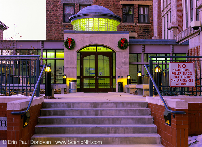 City Hall in downtown Manchester, New Hampshire USA