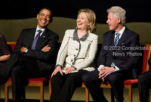 United States President Barack Obama, U.S. Secretary of State Hillary Clinton, and Former U.S. President Bill Clinton, attend a memorial service for Ambassador Richard Holbrooke held at the Kennedy Center in Washington, D.C. on Friday, January 14, 2011. Holbrooke passed away in December after undergoing surgery to repair a tear in his aorta. Photo by Kristoffer Tripplaar.Credit: Kristoffer Tripplaar  / Pool via CNP