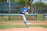 Los Angeles Dodgers relief pitcher Bryan Warzek (40) delivers a pitch during an Instructional League game against the Oakland Athletics at Camelback Ranch on October 4, 2018 in Glendale, Arizona. (Zachary Lucy/Four Seam Images)