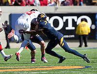 October 20th, 2012: California's Kameron Jackson tackles Stanford's Zach Ertz during a game at Memorial Stadium at Berkeley, Ca   Stanford defeated California 21 - 3