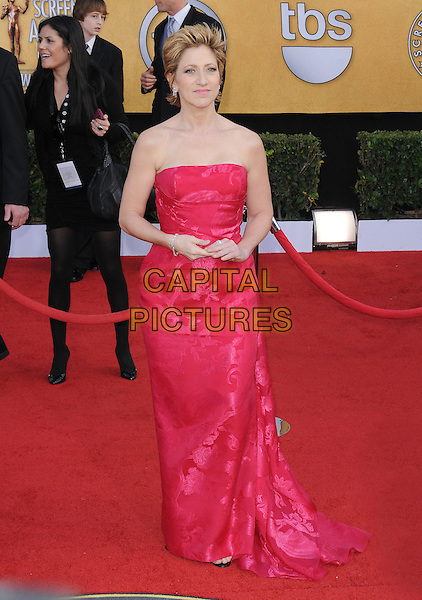 EDIE FALCO.17th Annual Screen Actors Guild Awards held at The Shrine Auditorium, Los Angeles, California, USA..January 30th, 2011.arrivals SAG full length pink strapless dress maxi floral print silk satin.CAP/RKE/DVS.©DVS/RockinExposures/Capital Pictures.