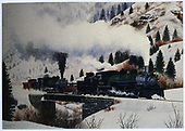 D&amp;RGW #484 and #499 with a westbound flanger run above Otto.  See RD025-017 for a possible model for this painting.<br /> D&amp;RGW  Otto, CO  Taken by Bennett, Gil (artist)