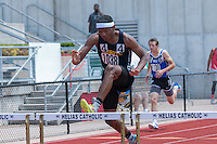 Cleveland NJROTC sophomore Antonio Norman runs to victory in the Class 2 300-meter hurdles in 39.20 at the Missouri Class 1 and 2 State Track and Field Championships in Jefferson City, Saturday, May 21.