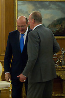 30.07.2012. King Juan Carlos I of Spain attends the promise of the President of the Court of Auditors, Ramon Alvarez de Miranda Garcia, at the Royal Palace of La Zarzuela. In the image King Juan Carlos and Ramon Alvarez de Miranda Garcia  (Alterphotos/Marta Gonzalez) *NortePhoto.com<br />
