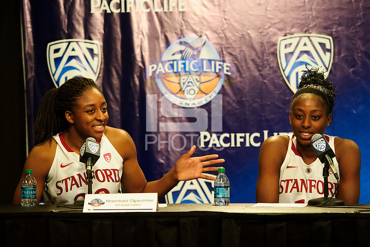 LOS ANGELES, CA - March 11, 2011:  Stanford's Nnemkadi Ogwumike (l) and Chiney Ogwumike during the press conference following the semi-final game of the 2011 Pac-10 Tournament game against the Arizona Wildcats at Staples Center.  Stanford won, 100-71.